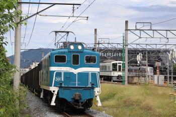 2018年9月22日 11時54分ころ、西武秩父、奥から10102Fの26レ、4015F+4003Fの5030レ、秩父鉄道の下り貨物列車。