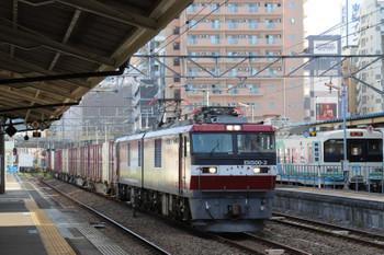 2018年7月27日 7時5分ころ、福島、EH500-3牽引の上り貨物列車と阿武隈急行の電車。