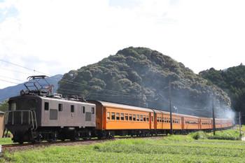 2018年9月9日 14時54分ころ、抜里~家山、「きかんしゃトーマス」牽引の新金谷ゆきSL列車を後ろから。