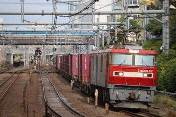 2018年11月18日 12時14分、目白〜池袋、EH500-27牽引の南行 コンテナ貨物列車。