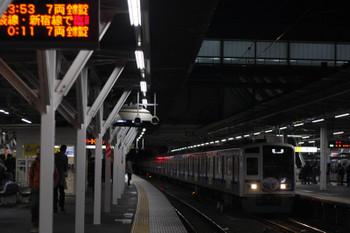 2018年12月7日 23時52分ころ、所沢、3番ホームを通過する6156Fの上り回送列車。