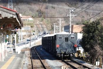 2021年1月3日 13時3分頃。樋口。下り列車から見えた上り貨物列車。