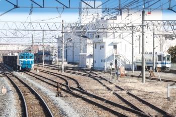 2021年1月3日 12時54分頃。寄居。デキ301牽引の下り貨物列車が停車中。右には東武の8000系が見えてます。