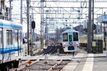 2021年1月9日 11時41分頃。西所沢。右から、6140レで1番ホーム到着後に引き上げ線へ入る2091F+2465F、4009F(52席)の下り列車、20000系の5220レ。