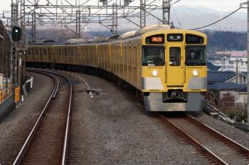 2021年2月1日。入間市〜仏子駅間。下り列車から見た9104Fの2112レ。