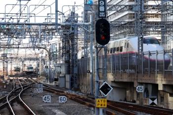 2021年2月19日 9時28分頃。東京。左奥が9番ホームから北へ発車した185系の回送列車。右手前には発車した新幹線も。