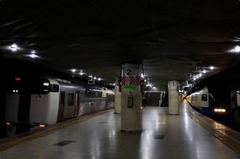 2021年3月11日 9時45分頃。東京駅地下ホーム。錦糸町駅から戻ってきた回送の215系(左)と、特急「しおさい号」のE255系(まだ乗車は始まっていません)。
