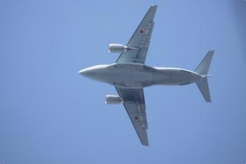 2021年4月12日 8時0分頃。武蔵関〜東伏見。上空を飛行機が通過。自衛隊でしょうか。