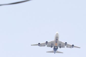 2021年5月4日 11時半頃。飯能市内。ジェット機のアップです。着陸態勢で南へ向かう「ATLAS AIR」。