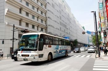 2021年5月15日 12時半頃。池袋。バスタ新宿ゆきの福島交通の高速バス。