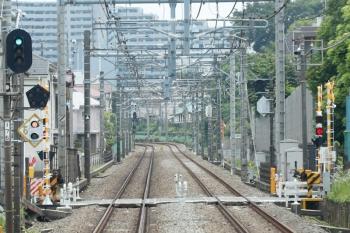 20201年5月29日。ひばりヶ丘〜東久留米駅間。上り列車の車内から。踏切反応灯も、通常は黒色部分が白色です。