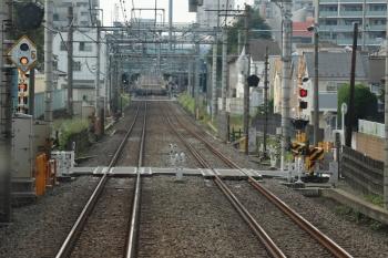 2021年6月6日。ひばりヶ丘〜東久留米駅間。手前の踏切反応灯は白色ですが、奥の東久留米横のそれは黒色塗装済。