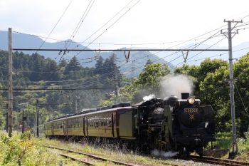 2021年7月25日 14時22分頃。影森〜浦山口。熊谷ゆきのSL列車。
