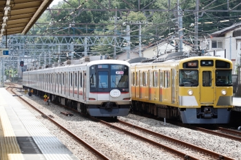 2021年8月9日。仏子。2465F+2077Fの2119レ(右)と、中線から発車した東急5121Fの13K運用・上り回送列車。