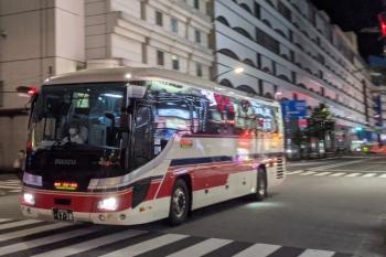 2021年8月16日 21時頃。池袋。長野県方面からやって来た千曲バス。