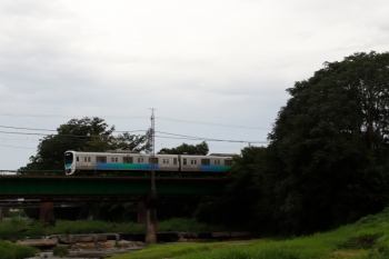 2021年8月21日。仏子〜元加治駅間。入間川橋梁を渡り始めた38109Fの1002レ。