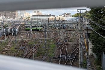 2021年9月16日 11時40分頃。池袋〜板橋。池袋駅北の車庫の様子を、跨線橋からのぞいた図です。