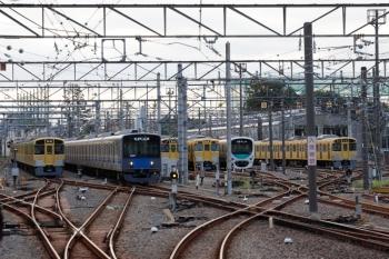 2021年9月16日。上石神井。左から、2459F+2511F+2517Fの回送列車と20107Fの4603レ、ほか。