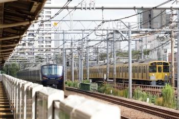 2021年9月16日 9時35分頃。西武新宿〜高田馬場(新大久保)。右は2095F+2405Fの2626レ、左は相鉄12006Fの埼京線4973K。