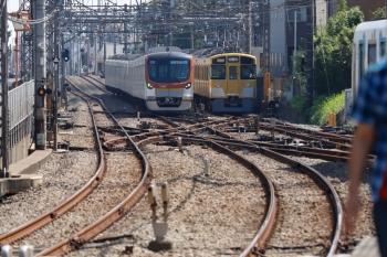 2021年9月23日 11時49分頃。西所沢。左から、メトロ17002Fの西武球場前ゆき快速の7303レ、6140レで到着後に引き上げ線へ入った2463F+2077F、2番ホームから発車した40151Fの上り回送列車。